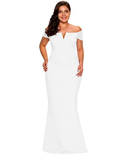 LALAGEN Women's Plus Size Off Shoulder Long Formal Party Dress Evening Gown Size XXXL (White)