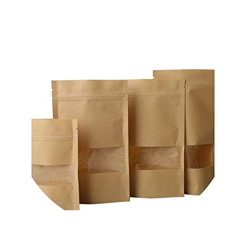 10pcs Brown Kraft Paper Gift Candy Bags Wedding Packaging Bag Recyclable Food Bread Party Shopping Bags for Boutique Zip Lock,14x22cm