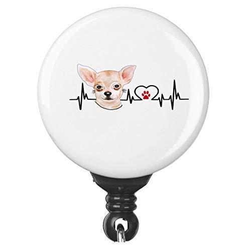 Chihuahua Dog Heartbeat EKG Heart Line Retractable Badge Reel ID Holder