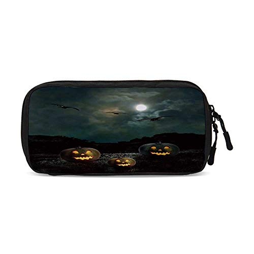 Halloween Practical Data Storage Bag,Yard of an Old House at Night Majestic Moon Sky Creepy Dark Evil Face Pumpkins Decorative for Organizing Cables,One -