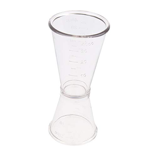 Baosity Clear Plastic Double Jigger Cocktail Wine Shot Drink Bartender Measuring Cup Scaled 20ml 40ml 40cc ()