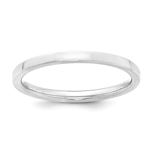 Sterling Silver 2mm Engravable Comfort Fit Flat Band