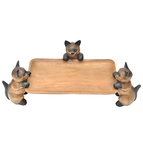 DGEG Fruit Plate, Hand-carved Wooden 3 Cat Fruit Bowl Featured Home Club Creative Crafts