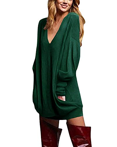 ZANZEA Women's V-Neck Long Sleeve Loose Blouse Jumper Tops Mini Dress Pullover Green US 6-8/ASIAN M (Sweater Dresses Boots)