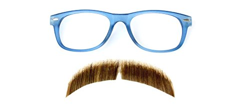 [Hipster Costume Accessory Kit, Mustache(2015) Brown/Glasses Blue] (Fake Mustache Kit)