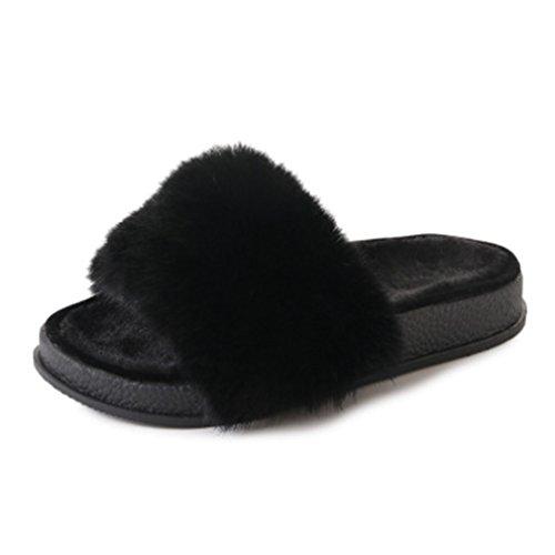 Ciabatte Invernali Giy Donna Pantofole In Peluche Per Interni In Peluche, Pantofole Calde Antiscivolo, Leggere E Calde, Nere