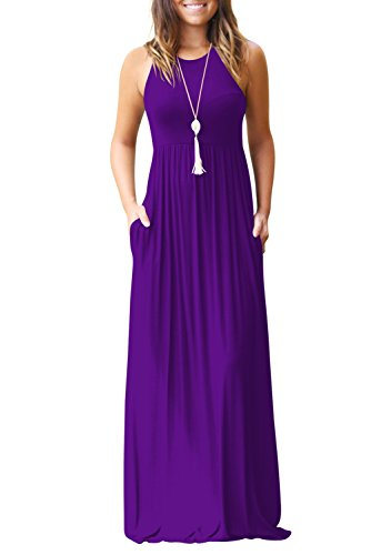 (Fantastic Zone Women's Round Neck Sleeveless A-line Casual Maxi Dresses with Pockets Purple-XL)