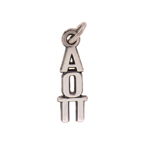 Alpha Omicron Pi Sorority Letter Sterling Silver or 14k Gold Lavalier Necklace with Chain AOII (Silver)