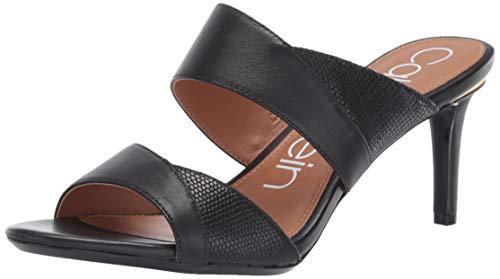 Calvin Klein Women's LYNNAE Heeled Sandal, Black Nappa/Shiny Lizard, 10 M US
