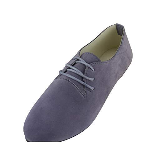 mode lacets similicuir pour et gris la plates chaussures en à élégant femmes basiques avec Ballerines qpwUZfS