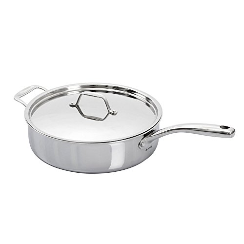 Secura Duxtop Whole-Clad Tri-Ply Stainless Steel Induction Ready Premium Cookware with Lid, 3Qt Saute Pan ()
