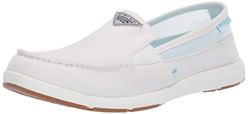 Columbia PFG Women's Delray II Slip PFG Boat Shoe, White, Coastal Blue, 9 Regular US