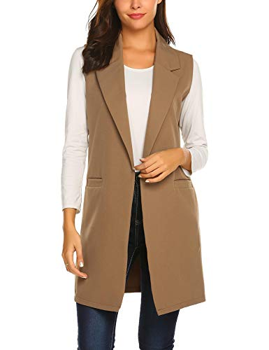 Showyoo Women's Long Sleeveless Duster Trench Vest Casual Lapel Blazer Jacket Khaki -