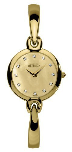 Michel Herbelin Salambo Women's Quartz Watch with Gold Dial Analogue Display and Gold Stainless Steel Bangle 17402/BP53