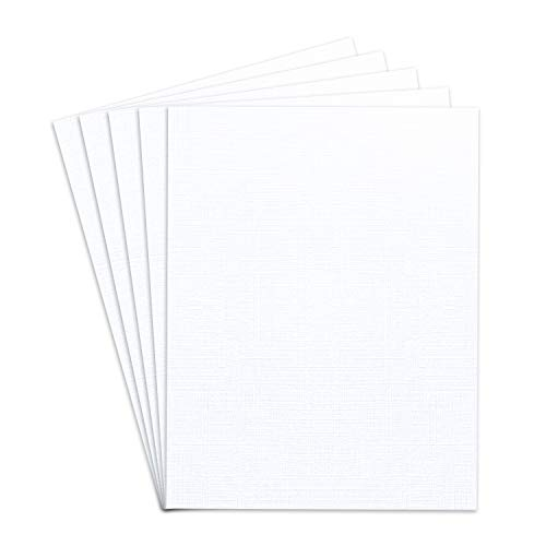 Blank Heavyweight White Linen Textured Cardstock, 8 1/2