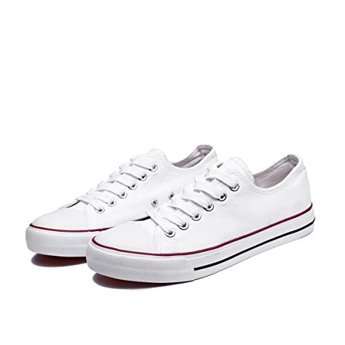 Sneakers Women Canvas For - FRACORA Casual Canvas Sneakers Low Cut Lace Ups Fashion Shoes for 2018 (White,US7)