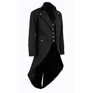 Darkrock Men's Cotton Twill Steampunk Tailcoat Jacket Goth Victorian Coat/Trench