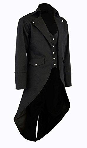 Darkrock Men's Cotton Twill Steampunk Tailcoat Jacket Goth Victorian Coat/Trench 4
