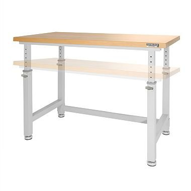 "Seville Classics UHD20288B UltraHD Height Adjustable 4-Foot Heavy-Duty Wood Top Workbench Table, 48"", Granite Gray"