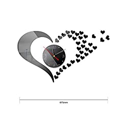 HOYOYO DIY Wall Acrylic Heart Clock Wall Stickers, Modern Acrylic Mirror Surface 3D Simple Big Size Wall Decor Clocks Numbers Stickers for Living Room Bedroom TV Wall Decoration Removable