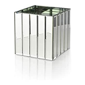Serene Spaces Living Gatsby Mirror Strip Cube Vase - Art Deco Inspired Glass Vase with Mirror Finish for Weddings, Events, Parties, Floral Centerpieces, Measures 4