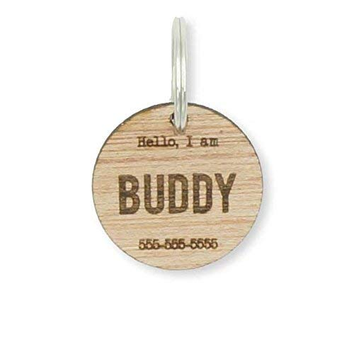 Custom Personalized Circle Wood Pet Name Phone Number Identification Tag Dog Tag Laser Engraved ID Tags