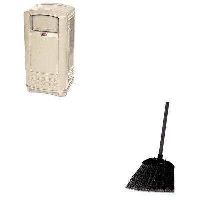 KITRCP637400BLARCP9P9000BG - Value Kit - Rubbermaid Plaza Indoor/Outdoor Waste Container (RCP9P9000BG) and Rubbermaid-Black Brute Angled Lobby Broom (RCP637400BLA) by Rubbermaid