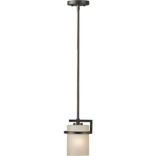 Forte Lighting 2405-01-32 1-Light Transitional Mini-Pendant, Antique Bronze Finish with Umber Linen Glass by Forte Lighting (32 Mini Pendant)
