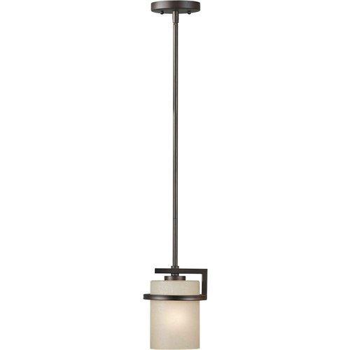 Forte Lighting 2405-01-32 1-Light Transitional Mini-Pendant, Antique Bronze Finish with Umber Linen Glass by Forte Lighting