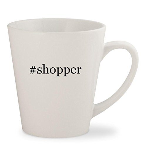 #shopper - White Hashtag 12oz Ceramic Latte Mug (Maxi Shopper Bag)