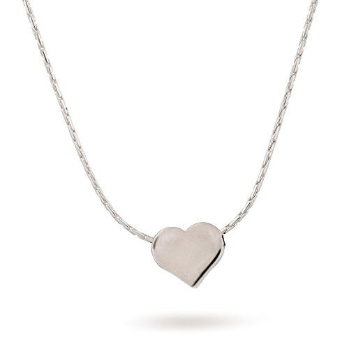 (Sterling Silver Heart Necklace Tiny 8mm Heart Charm 15