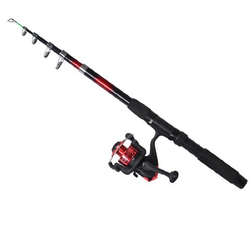 uxcell Fish Rod 6 Sections Retractable 1.95M Long Red Black w Fishing Spinning Reel