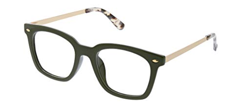 Peepers by PeeperSpecs Women's Limelight Blue Light Filtering Reading Glasses-Oprah's Favorite Things 2019 Non Polarized Oversized, Green/Gray Tortoise, 2.5