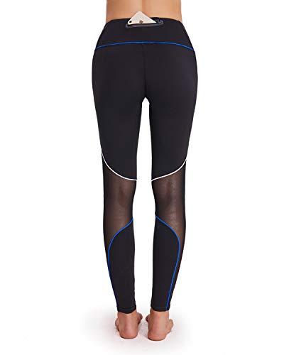 HAIVIDO Women's High Waist Yoga Pants with Back Zip Pocket Tummy Control Workout Running Yoga Leggings Mesh Athletic Pants Black M