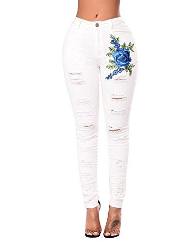 Jeans Boyfriend Donna Strappati Denim Push Bianco Up Pantaloni Jeggings aHaWxr4n