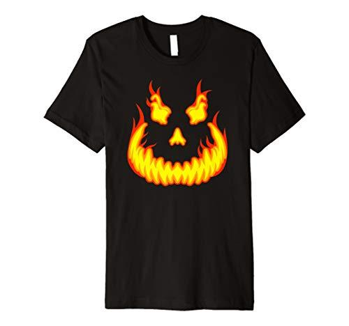Pumpkin Evil Smile Scary Fiery Jack O'Lantern Halloween Premium T-Shirt]()