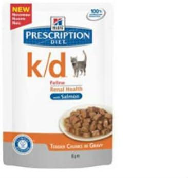 Hill 's Prescription Diet k/d Feline - Bolsa con alimentos para gatos de salmón (12 x 85 g)