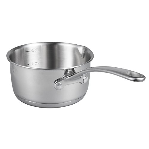 IMEEA (17oz/500ml Heavy Duty 18/10 Tri-Ply Stainless Steel Butter Warmer Pan with Dual Pour Spouts, 0.5-Quart by IMEEA