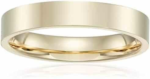 Decadence 14K Yellow& White Gold 4mm Polished Flat Comfort Feel Plain Wedding Band