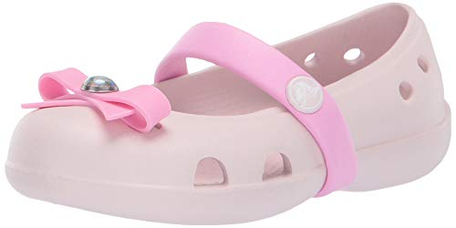 Crocs Girls' Keeley Charm Flat Mary Jane, Barely Pink 7 M US Toddler