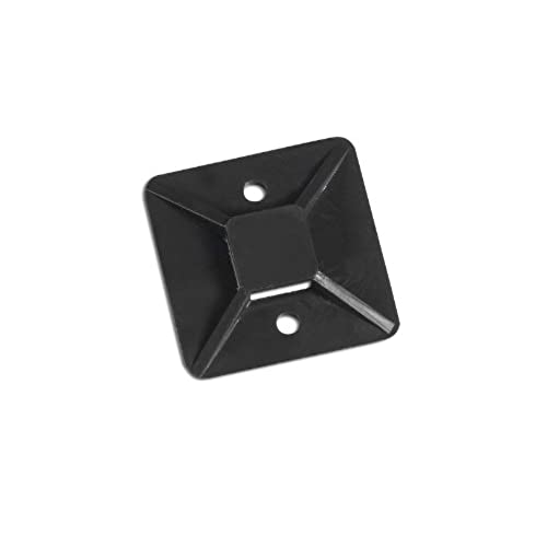 "Aviditi CTM11B Cable Tie Mounts, 1"" x 1"", Black (Pack of 100) for cheap"