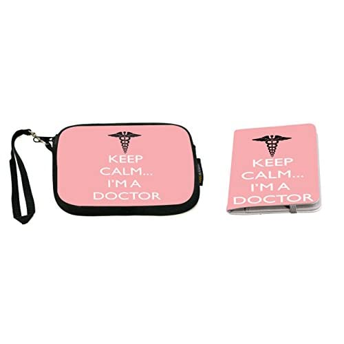 Rikki Knight Keep Calm I'm a Doctor Brown Color Design Neoprene Clutch Wristlet with Matching Passport Holder