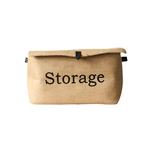 HBJP Hemp Square Clothing Storage Box Cotton and Linen Retro Folding Green Leather Buckle Covered Storage Box (Size : L) (Square Covered Buckle)