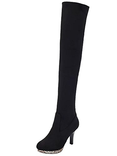 Black Slip Heel Stretch Boots Winter Boots Thin Women's Long AIYOUMEI Knee The Platform On Over cW6gZ1