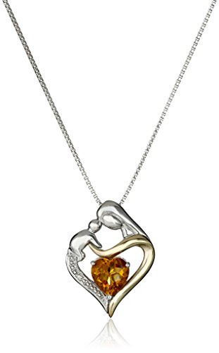 Sterling Silver and 14k Yellow Gold Heart Mother's Jewel Citrine and Diamond Accent Pendant Necklace, - Gold Heart Citrine