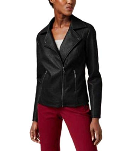 Alfani Faux-Leather Moto Jacket Stadium Grey