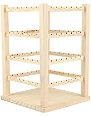 Lurrose Wood Rotating Jewelry Tower Earring Stand Rack Earring Card Storage Display Holder Stand for Store Showcase Tradeshow And Home