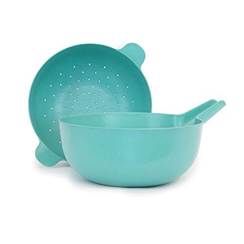 (EKOBO Bamboo Large Multi-purpose Bowl & Colander Set, BIOBU Eco-material, Lagoon (Blue))