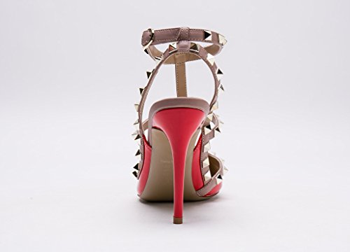 High Sandals Heel Nude Studded Kaitlyn Gold Trim Toe Studs Strappy Pan Red Slingback Leather Pumps Patent Pointed Stilettos 066wYqP