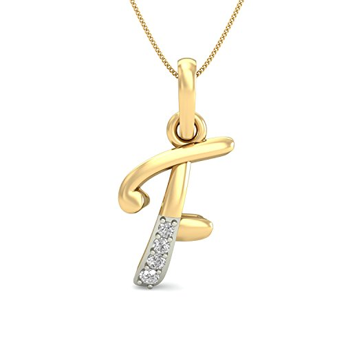 PC Jeweller The F Alphabet 18KT Yellow Gold and Diamond Pendant for Women